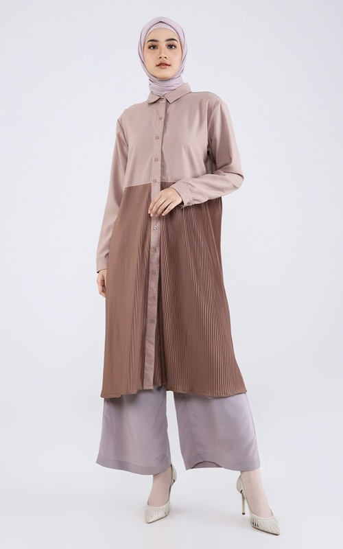 Tunik - Aveline Pleated Midi Dress - Mocha