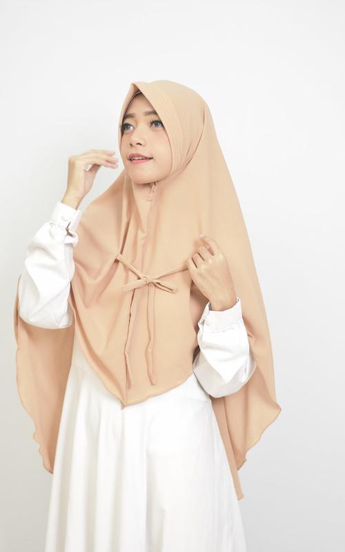 Instant Hijab - Fatima Khimar Instan Hijab Syari Two Way Creamy - Creamy