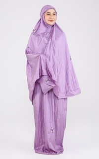 Praying Set Mukena Travelling Flower Purple