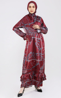 Long Dress Java Set Include Hijab Maroon