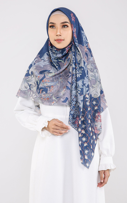 Hijab Motif - The Topkapi Voal Square XL - Royal Blue - Multicolor