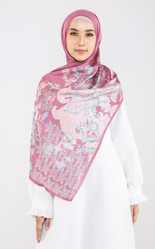 Pashmina - The Topkapi Satin Shawl - Raspberry - Multicolor
