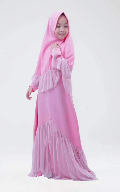 kids' clothing - Gamis Qirani Light Pink L ( 6-7 tahun ) - Light Pink