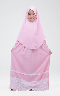 Long Dress Gamis Zahra Pink XL (7-8 tahun)