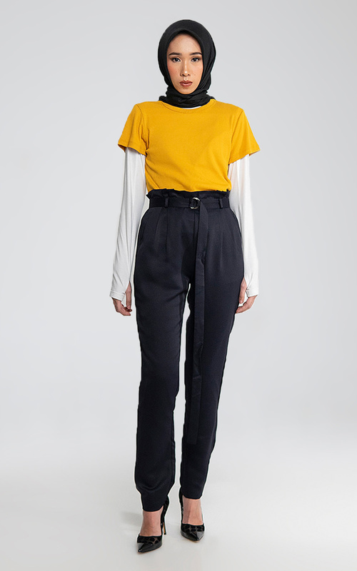 Pants - High Waist Pants - Blue Black