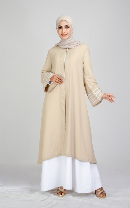 Tunique wear | Ansara Outer | Denting Raya Collection - Warm Taupe
