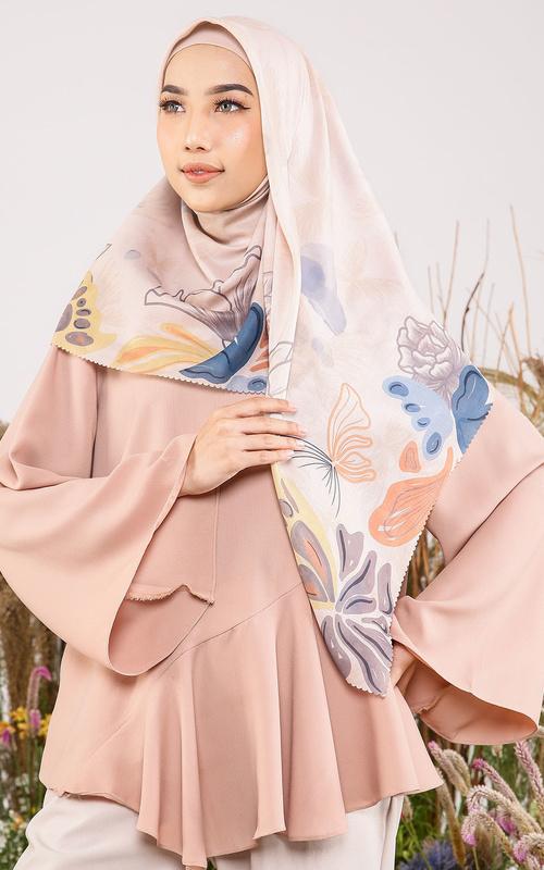 Hijab Motif - Delias Scarf in Blanca - Creme