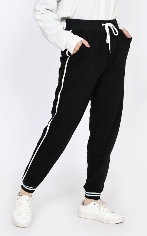 Pants - Jogger Babyterry  Rib Stripe - Black