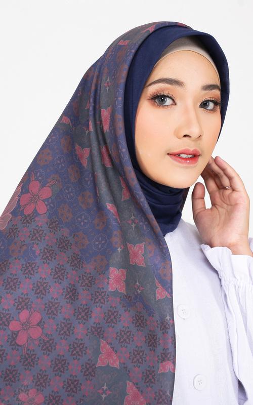 Hijab Motif - Elia Series Navy - Navy