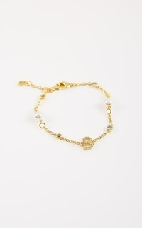 Jewelry Signature Bracelet with Pearl - Gold