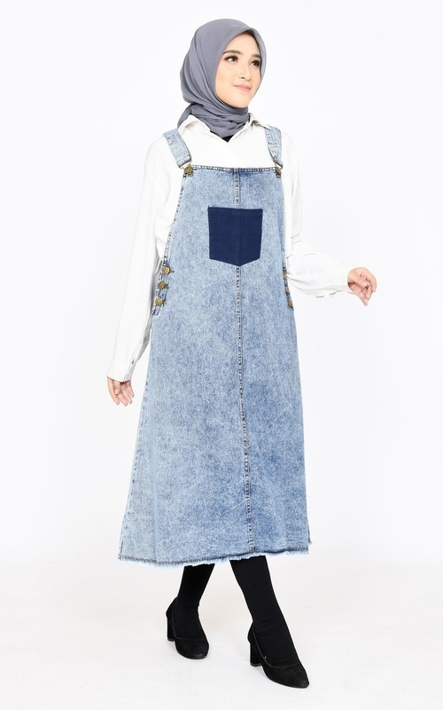Jumpsuit - Overall Skirt Patch Jeans - Snow Blue