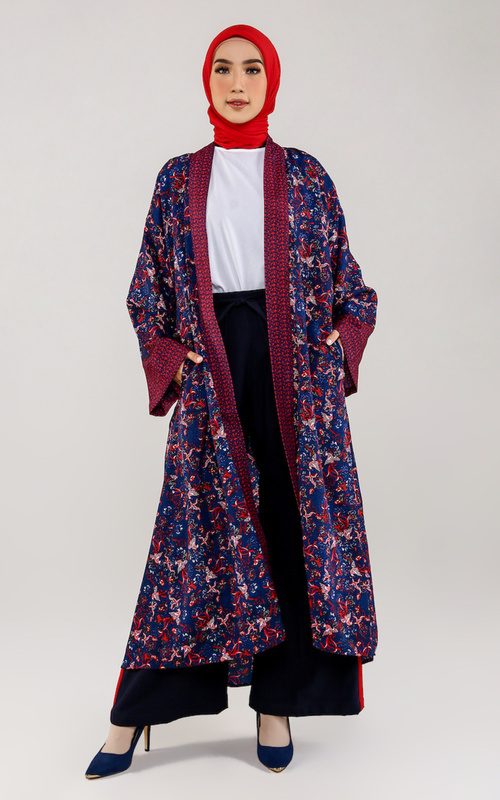 Cardigan - Phoenix Outer - Navy Blue-Red