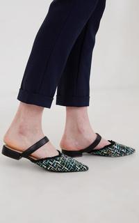 Manna Ocra Tweed Mules Multicolor