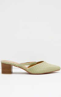Marry Ocra Textured Mules Green