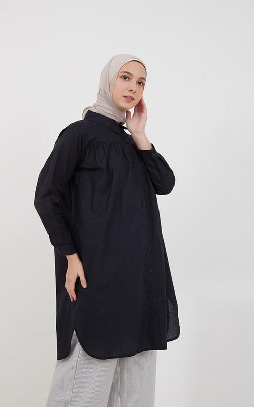 Shirt - Sephia Felix Slit Shirt Black - Black