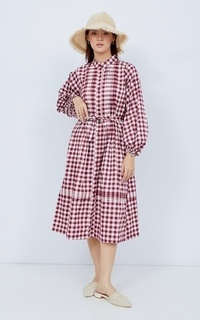 Gamis NONA Lucy Dress Long Sleeve Wine Plaid