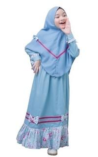Pakaian Anak Gamis Malihah Olympic Blue L