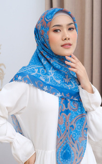 Printed Scarf Adha Collection 2021 in Blue Sea
