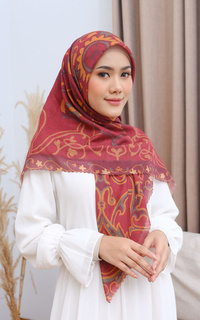Printed Scarf Adha Collection 2021 in Ruby