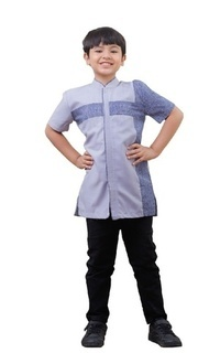 Pakaian Anak Koko Couple Naufal Anak Grey Purple & Blue Wood L