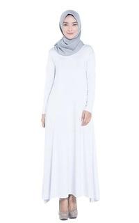 Long Dress elzatta Gamis Polos Gamia Azra Putih 902