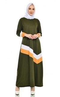 Gamis Mybamus Gyala Combine Colour Dress Army M14915 R53S1
