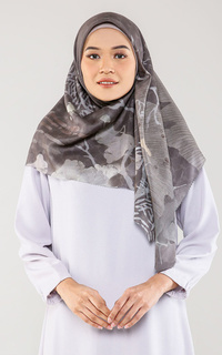 Printed Scarf Ginkgo Voal Square - Grass Jelly