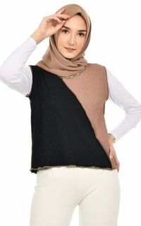 Cardigan Mybamus Austeen Two Tone Outer Black-Mocca M16386 R43S6