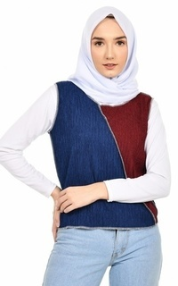 Cardigan Mybamus Austeen Two Tone Outer Navy-Maroon M16385 R38S