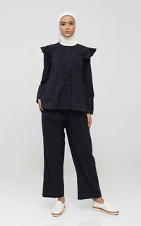 Blouse Polkadot Navy Pajamas Set