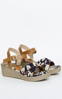 Sepatu Denada wedges in navy canvas and tan straps