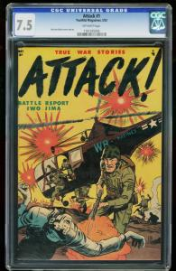 ATTACK #1-CGC 7.5-1952-HIGHEST COPY-VIOLENT WAR CVR-SOUTHERN STATES 1161205005