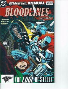 Lot Of 2 DC Comic Books Bloodlines Outbreak #2 and Superman Action Comics #3 ON4