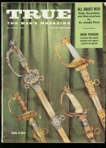 TRUE MAGAZINE AUG 1958-SWORDS-SNAKE HANDLING-TESLA VG