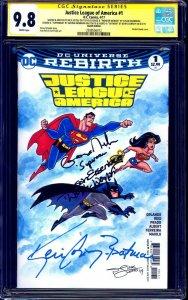 Justice League #1 BLANK CGC SS 9.8 signed x4 SKETCH Conroy Newbern Eisenberg