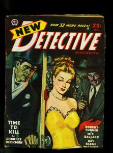 New Detective Pulp January 1947- Gun Moll Cover- Crime Fiction- VG/FN