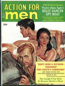 Action for Men Magazine March 1960- Glo Becher- Belly Dancer Spy Boat FAIR