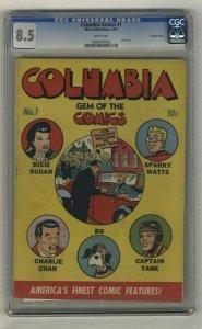 Columbia Comics #1 - CGC 8.5 - Wise Publications - 1943 - CROWLEY COPY!