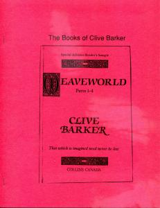 The Books of CLIVE BARKER, VF/NM, 1988, Ltd, Softcover, Joseph Bell, #58