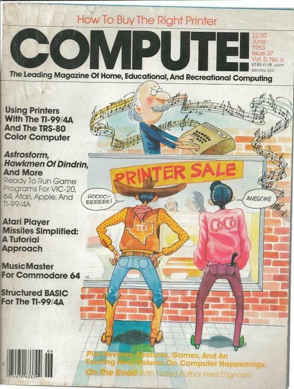 ORIGINAL Vintage Compute Magazine #37 June 1983 Atari Commodore 64 TI99