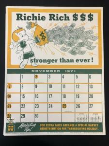 RICHIE RICH Harvey Comics Promo Sales Calendar Poster -November 1971