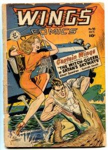 Wings Comics #98 1948- ALLIGATOR ATTACK COVER- GGA missing centerfold
