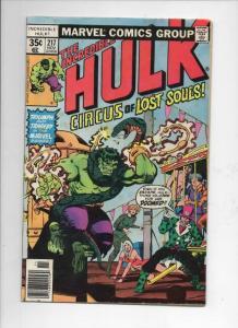 HULK #217, VG/FN, Incredible, Bruce Banner, Circus, 1968 1977, Marvel