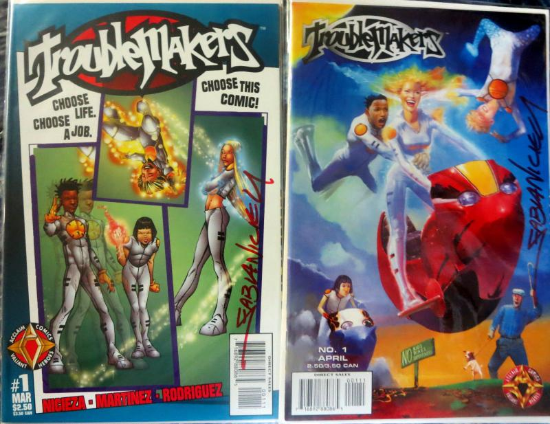 TROUBLEMAKERS - 2 Issue #1s Original + Variant Both SIGNED BY FABIAN NICIEZA