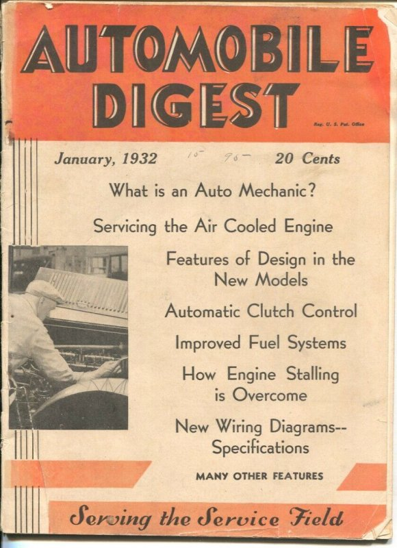 Automobile Digest 1/1932-serving the service field-early auto repair magazine...