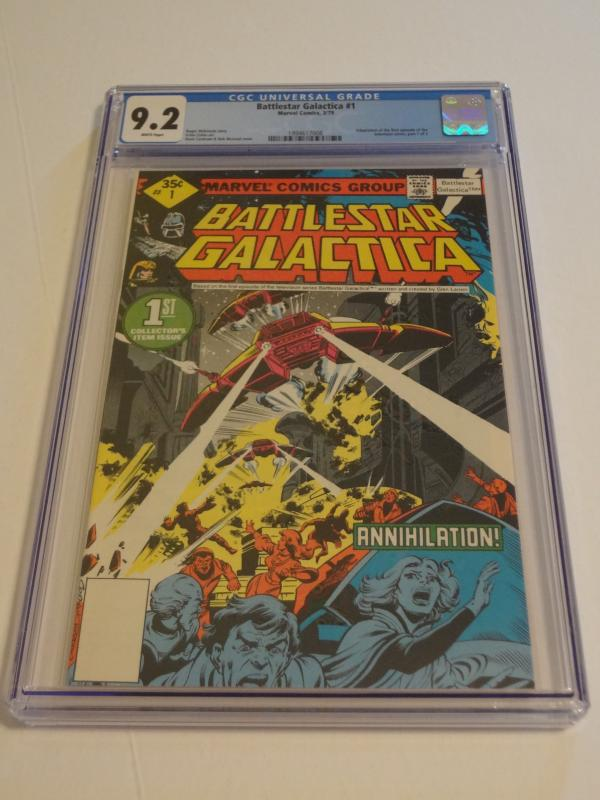 Battlestar Galactica #1-3, CGC 9.2; Whitman variants! 3-part TV show adaptation!