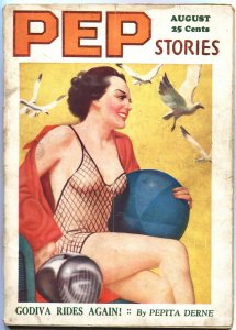 PEP STORIES AUG 1936-FAMOUS FISH NET SWIM SUIT COVER-PULP FICTION