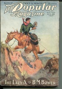 Popular Magazine 8/7/1924-adventure pulp-western cover-VG