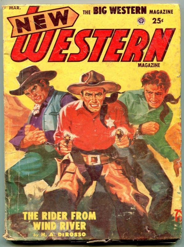 New Western Pulp March 1953- Rider From Wind River VG-