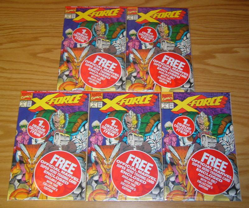 X-Force #1 VF/NM complete set in bags with all 5 cards - deadpool - white cap